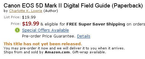 Amazon: Canon 5D Mark II Field Guide