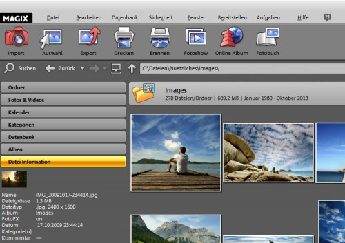 Magix Foto Manager 15 Deluxe part screen